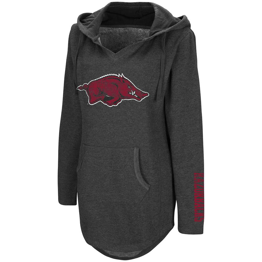Womens Arkansas Razorbacks Walkover V-Neck Tunic Pull-over Hoodie