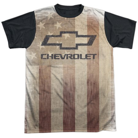 Chevrolet Automobiles Chevy American Pride Faded Adult Black Back T Shirt