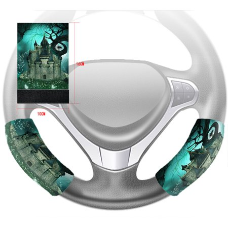YKCG Magic Fantasy Castle Halloween Night Mystic trees Steering Wheel Cover Hook and Loop Covers Size 10x16cm Set of 2 - Halloween Magic Castle