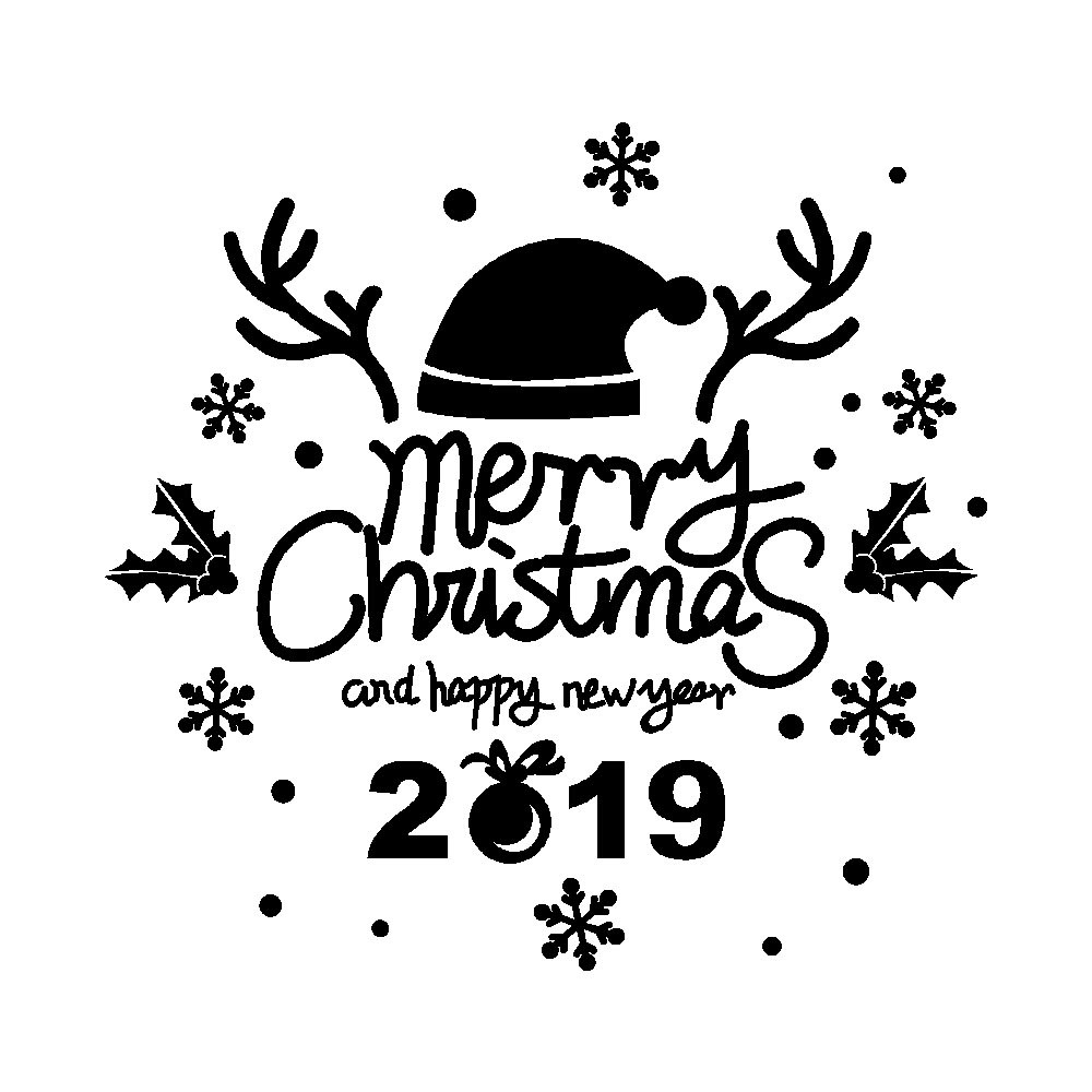 New Year Merry Christmas Wall Sticker Home Shop Windows Decals Decor