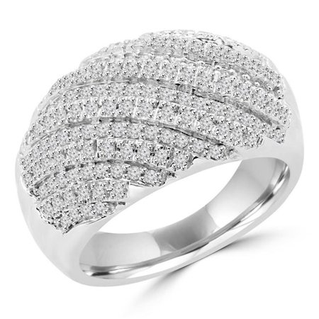 Majesty Diamonds MDR140126-8.25 0.6 CTW Round Diamond Cluster Cocktail Right Hand Ring in 14K White Gold - Size 8.25 - image 1 de 1