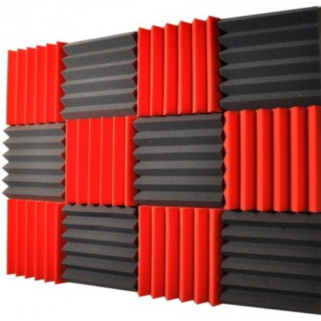 2x12x12-12PK RED/CHARCOAL Acoustic Wedge Soundproofing Studio Foam Tiles