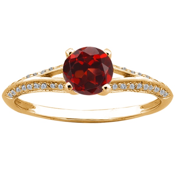 0.85 Ct Round Red Garnet Diamond 14K Yellow Gold Ring