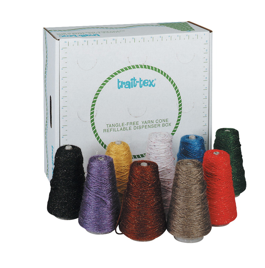 Trait Tex 4-Ply Double-Weight Glitter Yarn Cone, 2835 yd Dispenser Box, Assorted Color, 8 oz Cone, Pack of 9