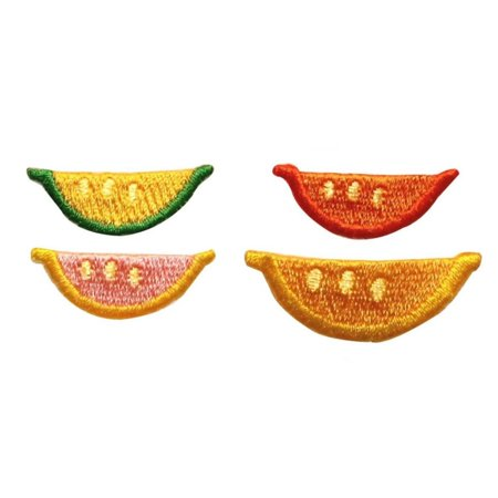 ID 1209A-D Set of 4 Fruit Slice Patches Picnic Snack Embroidered Iron On Applique