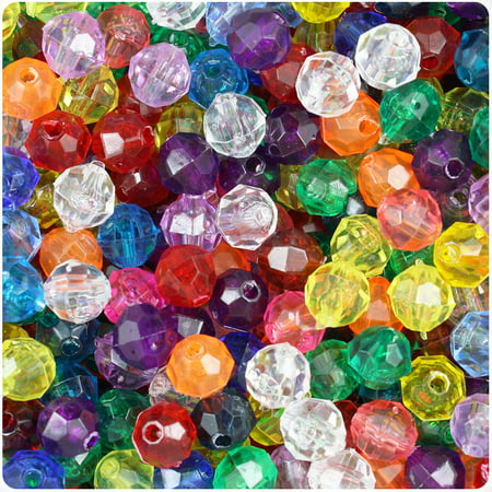 BeadTin Transparent Multi 8mm Faceted Round Craft Beads -