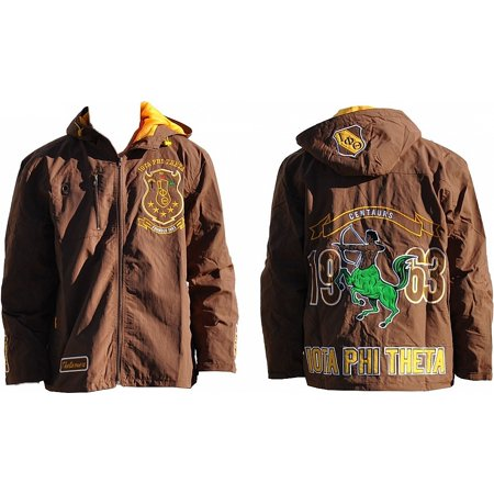 Big Boy Iota Phi Theta Divine 9 S3 Mens Hooded Windbreaker Jacket [Brown - L]