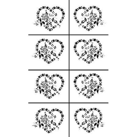 Armour Etch Rub N Etch Stencil Floral Hearts, 5-Inch by 8-Inch