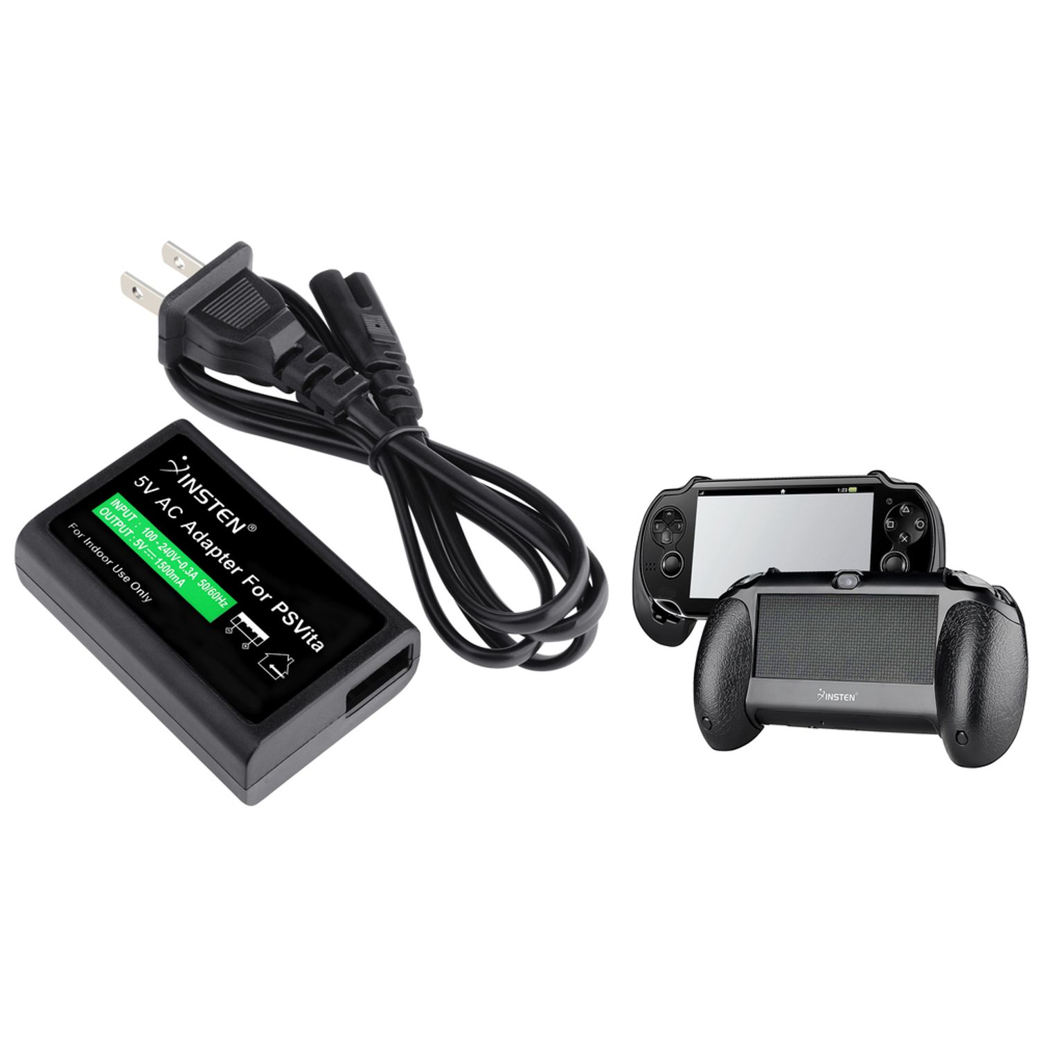 Insten US Plug AC Power Adapter+Black Hand Grip Holder For Sony Playstation PS Vita (2-in-1 Accessory Bundle)
