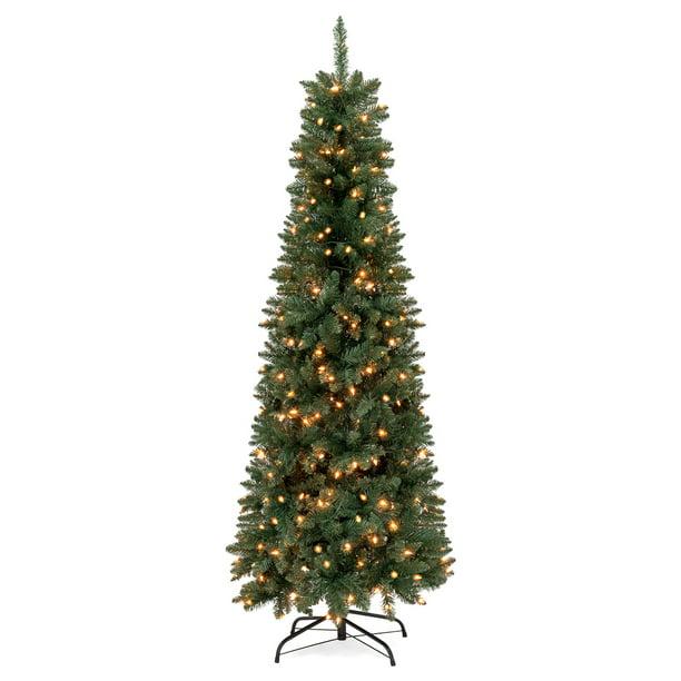 Best Choice Products 7 5ft Pre Lit Hinged Fir Artificial Pencil Christmas Tree W 350 Warm White Lights Walmart Com Walmart Com