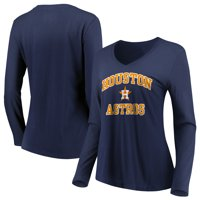 Women's Majestic Navy Houston Astros Heart & Soul Long Sleeve V-Neck T-Shirt
