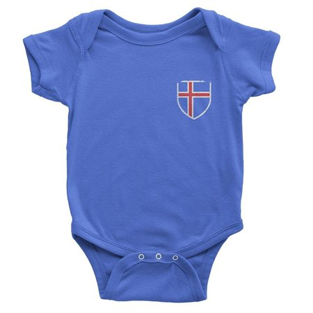 NYC FACTORY Iceland Flag Tee Blue Island Baby Bodysuit Retro T-Shirt III