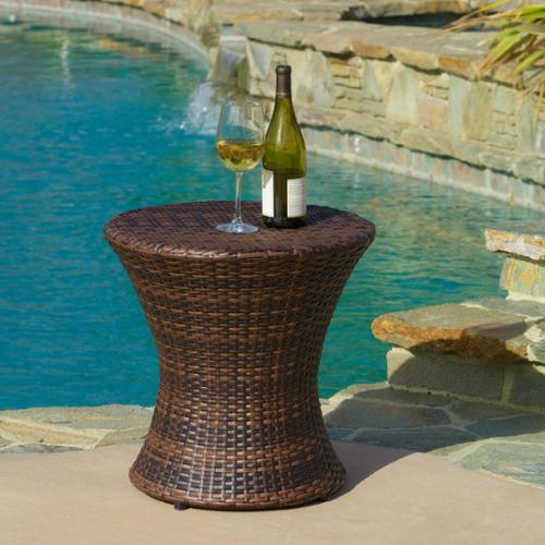 Christopher Knight Home Adriana PE Wicker Outdoor Side Table By
