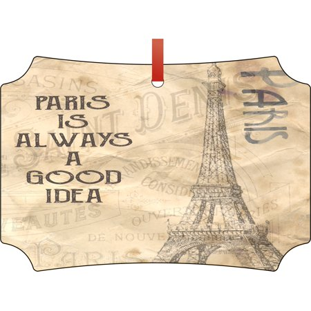 Paris is Always a Good Idea Eiffel Tower Vintage Style Elegant Glossy Double Sided Aluminum Christmas Ornament Tree Decoration - Unique Modern Novelty Tree Décor Favors
