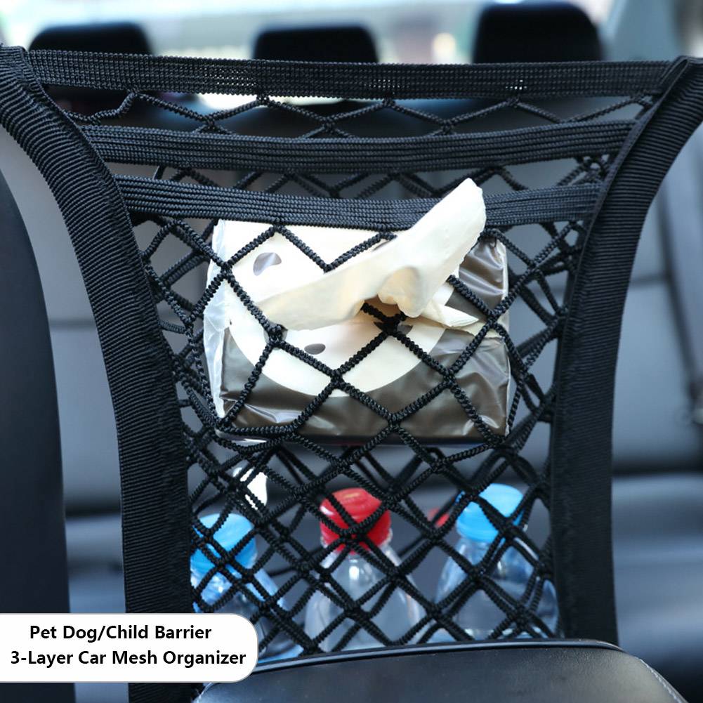 Car Mesh Organizer Driver Storage Netting Pouch,Smaller Items Storage Dog Barrier Driver Mesh Pouch Cargo Tissue Purse Holder Backseat Storage Net Bag
