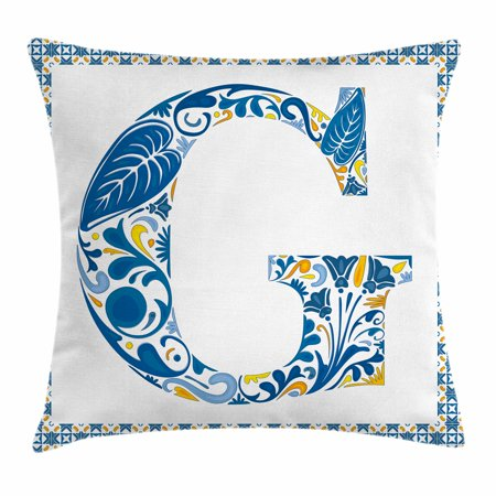 - Letter G Throw Pillow Cushion Cover, Flower Letter G Natural Elements in Blue Tones Alphabet European Culture, Decorative Square Accent Pillow Case, 16 X 16 Inches, Blue Yellow Orange, by Ambesonne
