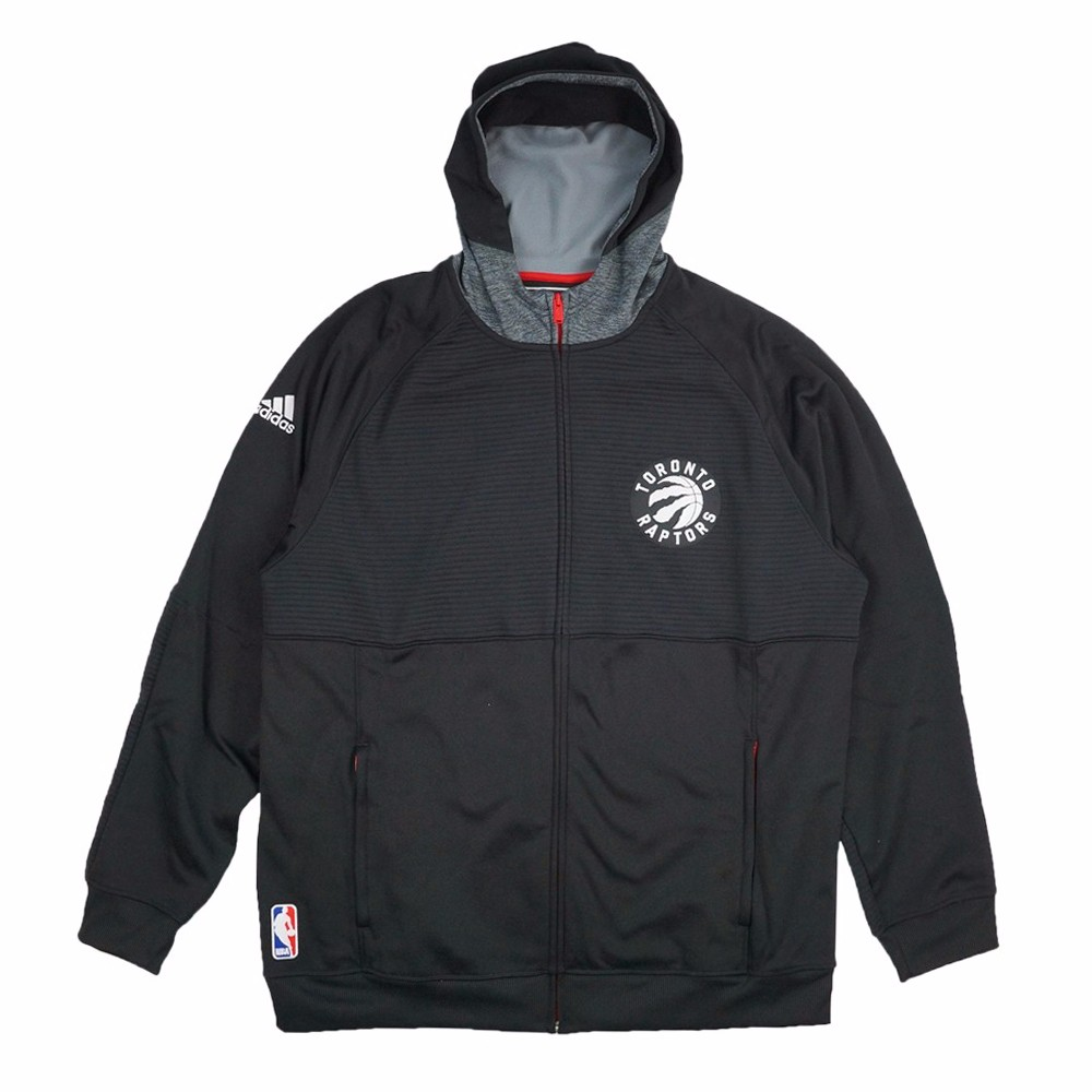Toronto Raptors NBA Adidas Black Team Issued Pre-Game Full Zip Hooded Pro Cut Jacket Jacket For Men (4XLT) by Adidas
