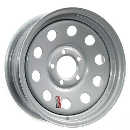 Trailer Rim Wheel 15 x 6 in. 15x6 5 Lug Hole Bolt Wheel Silver Modular Design ()