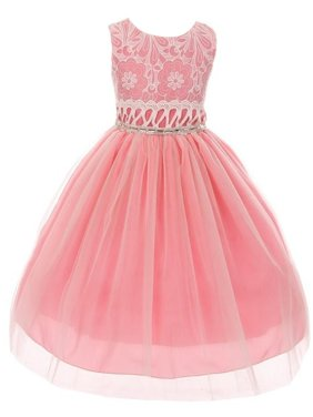 Little Girls Coral Lace Embroidered Bodice Bejeweled Waist Easter Dress