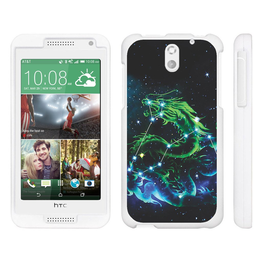 HTC Desire 610, [SNAP SHELL][White] Hard White Plastic Case with Non Slip Matte Coating with Custom Designs - Dragon Constellation Stars