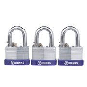 Brink's 50mm Laminated Steel Padlock, Boron Shackle, 3-Pack