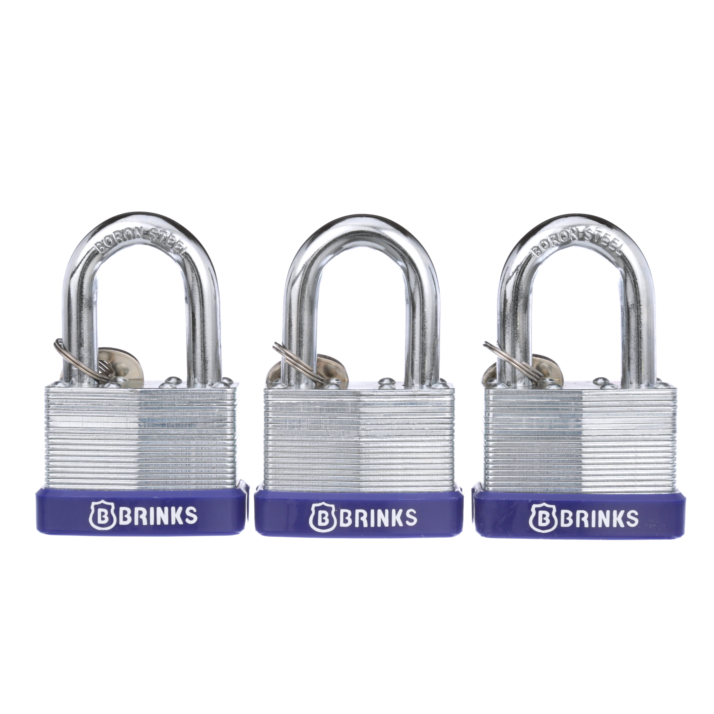 Brink's 50mm Laminated Steel Padlock, 3-Pack