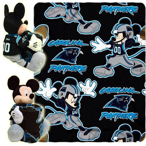 """Disney NFL Hugger Pillow and 40"""" x 50"""" Throw Set, Carolina Panthers"""