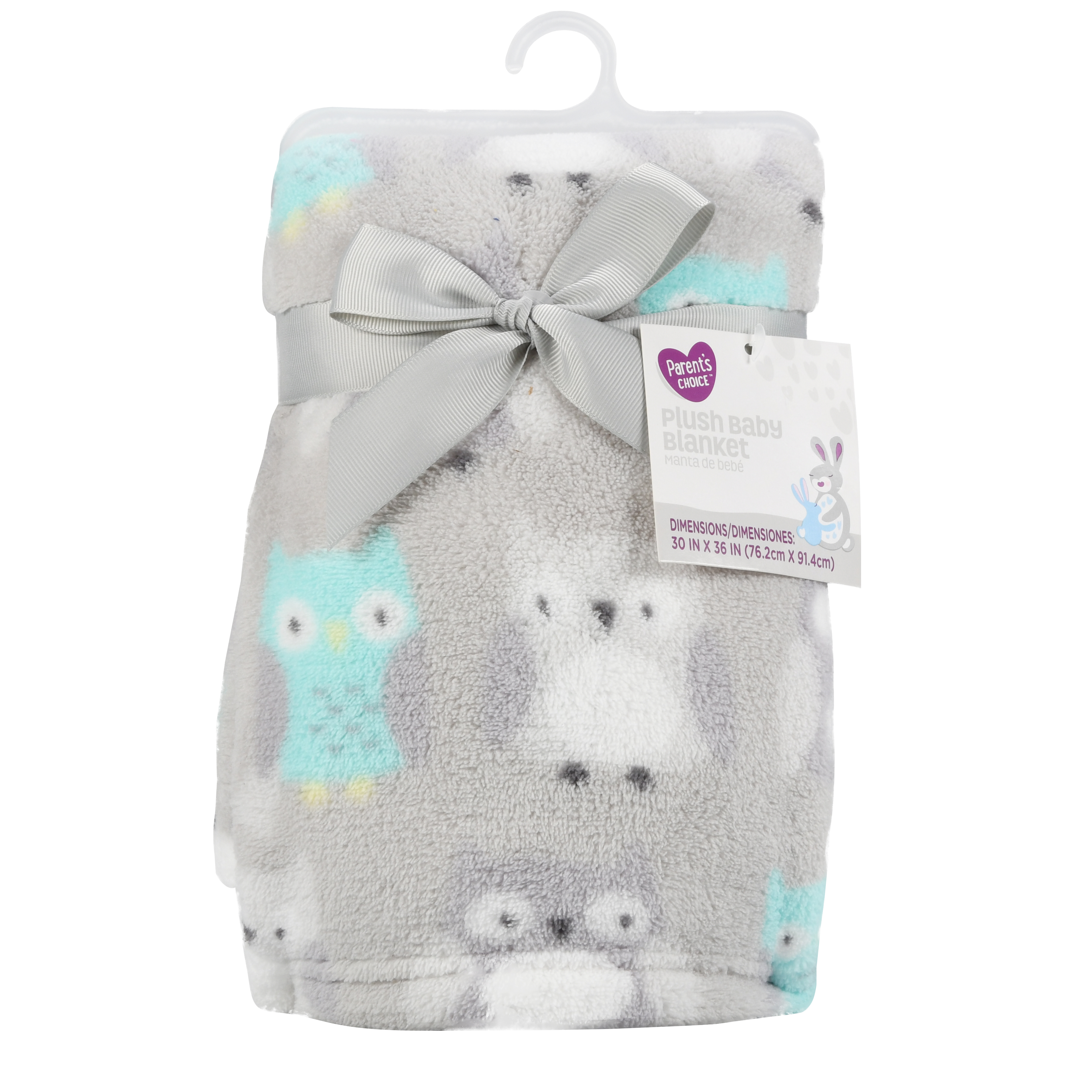 Parent's Choice Plush Baby Blanket, Gray Owl, 1 Pack