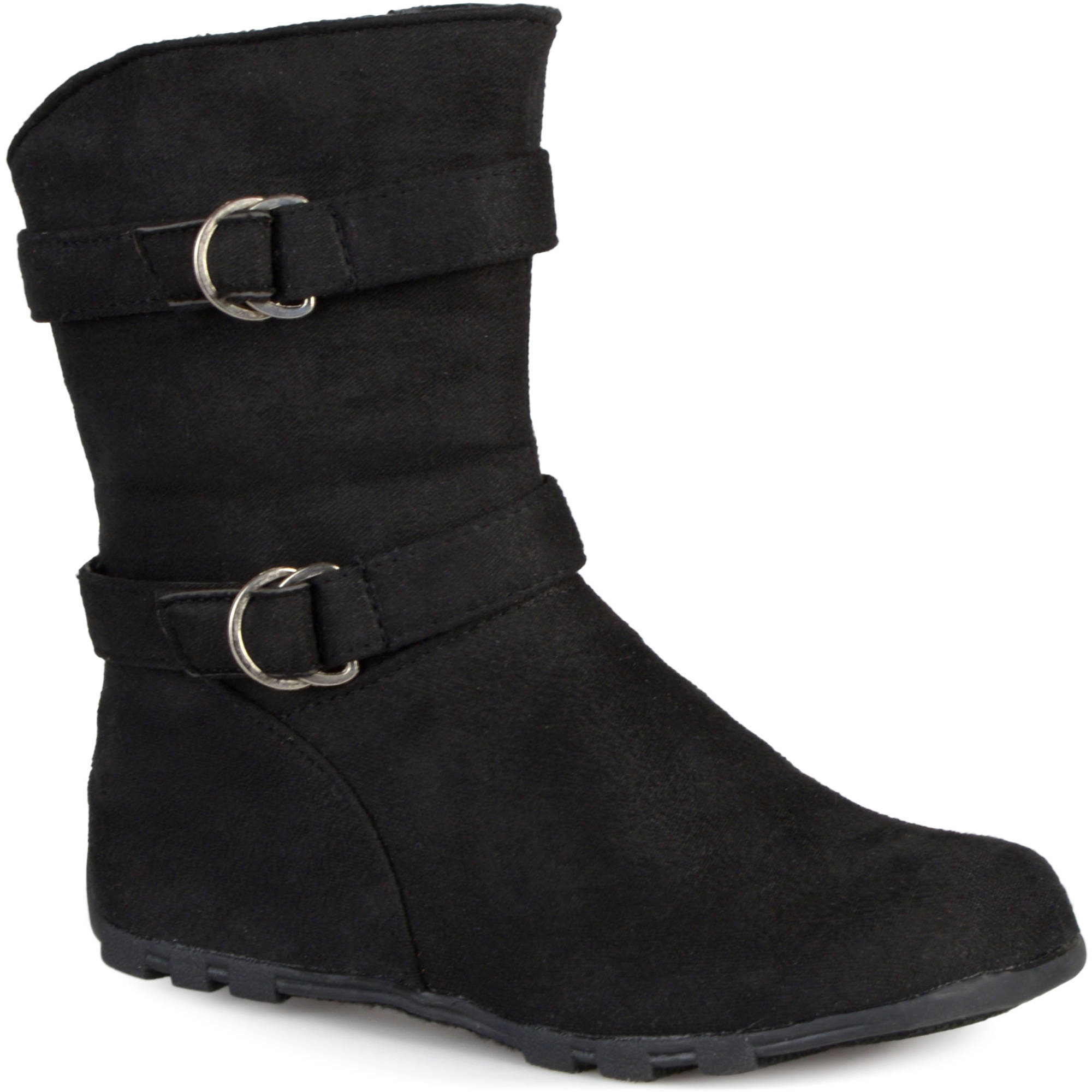 Brinley Co Kids Girl's Buckle and Strap Accent Mid-calf Boots