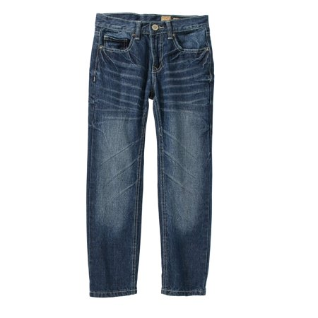 Tokyo Five Boys' Straight Leg Fashion Denim Medium Wash