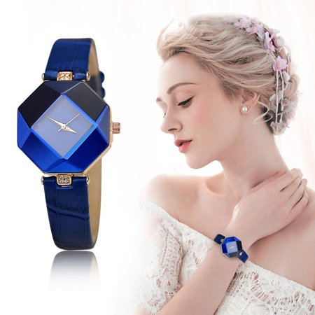 (gift clearance# Elegant Fashion Women Watch Irregular Dial Case Rhinestone Cut Watch Leather Watchband Quartz Wristwatch Female Dress Watch)