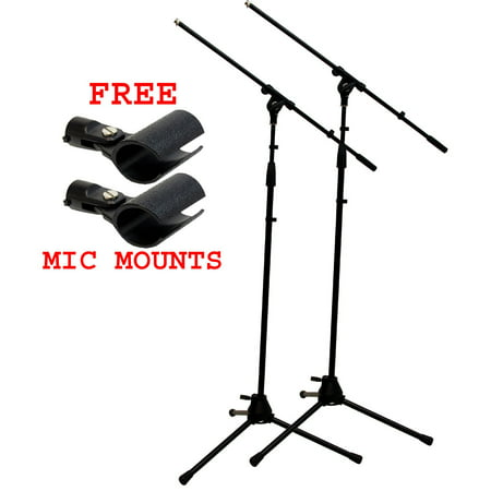 (2) Pro Audio Stage Instrument Adjustable Boom Microphone Stand Free Mic
