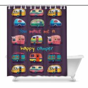 MKHERT Funny You Make Me Happy Camper Motivational Quote with Retro Caravans Waterproof Shower Curtain Decor Fabric Bathroom Set 66x72 inch