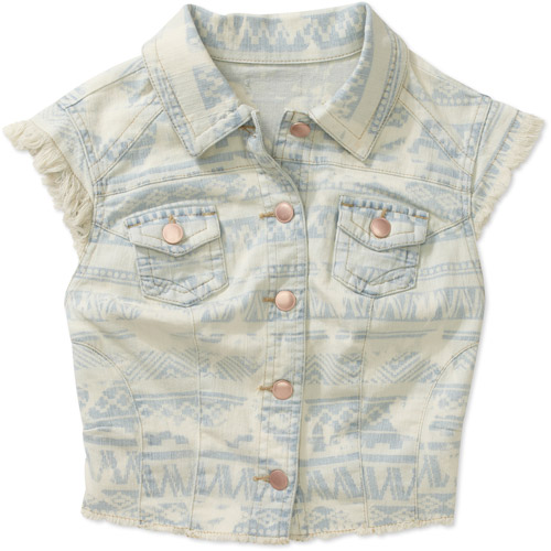 G21 Juniors Frayed Discharged Denim Vest