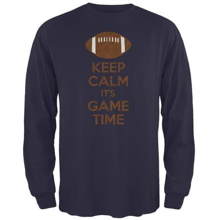 Keep Calm Game Time Football New England Blue Adult Long Sleeve T-Shirt