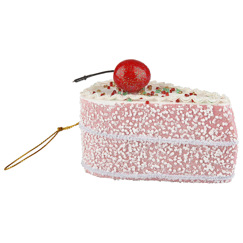 New Cherry Cake Slice Glass Christmas Tree  Ornament Whimsical Pink White