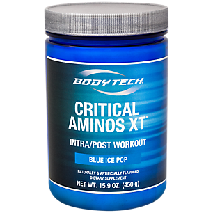 (BodyTech Critical Aminos XT™ is an advanced performance supplement specifically designed to help your body recover from the physical demands of athletic training and exercise. Ideal for all levels of athletes and training enthusiasts. Glutamine and BCAAs for muscle growth Citrulline, to support nitric oxide synthesis Carnitine for energy production and recovery Vitamin C and Grape Seed Extract for antioxidant protection BLUE ICE POP)