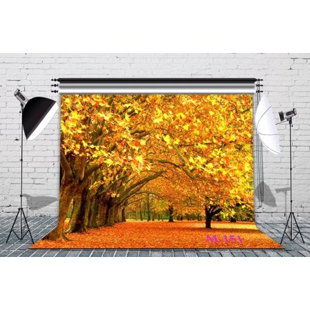 Falling Leaves Background (GreenDecor Polyster 7x5ft The Golden Maple Leaves of the World Autumn Scenery Fall Photo Backdrop Photography Backdrop Background Studio Props )
