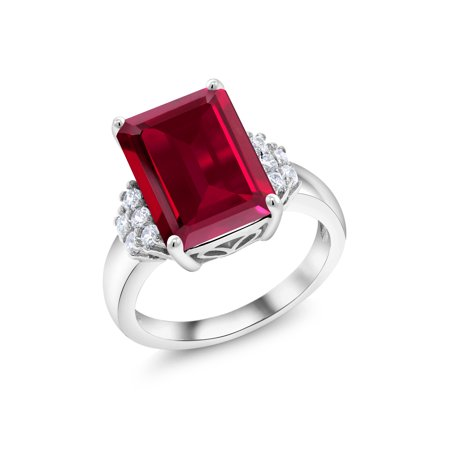Holiday Gems Ruby (8.30 Ct Emerald Cut Red Created Ruby 925 Sterling Silver Ring )