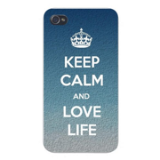 "Apple Iphone Custom Case 4 4s Snap on - ""Keep Calm and Love Life"" Grainy Textured Style Background"
