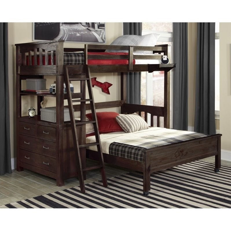 NE Kids Highlands Twin Over Full Bunk Bed in Espresso