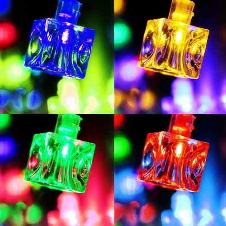 TORCHSTAR LED Christmas String Lights, Ice Cube Multi Color Decoration Light, 7.3ft Length 20 Cubes Battery Operated](Christmas Cube Decorating)