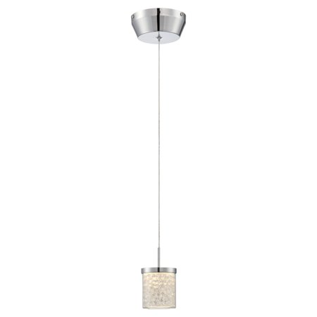 Lite Source Kristen LED Mini-Pendant, Chrome Finish with Glass and Crystal Shade