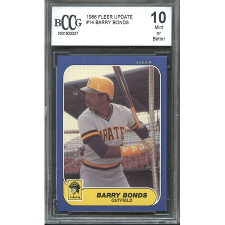 Fleer Barry Bonds - 1986 fleer update #14 BARRY BONDS pirates rookie card (CENTERED) BGS BCCG 10