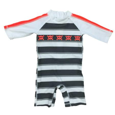 Infant Boys Gray & Orange Stripe Skull Print Long Sleeve Rash Guard Swimsuit
