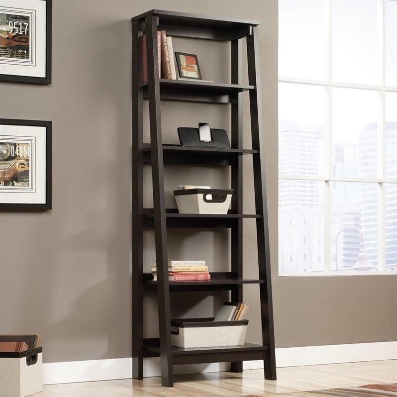Sauder Trestle 5 Shelf Bookcase In Jamocha Wood