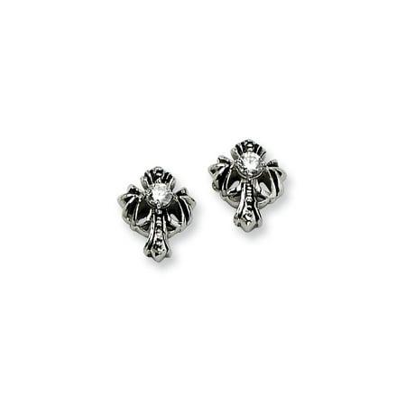 Primal Steel Stainless Steel Antiqued Cross with  CZ Post Earrings