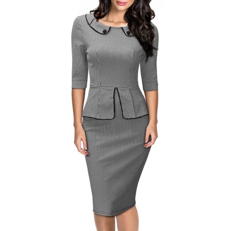 MISSMAY Women's Retro Neck Houndstooth-Print Peplum 1/2 Sleeve Formal Pencil Dresses for Women (Grey