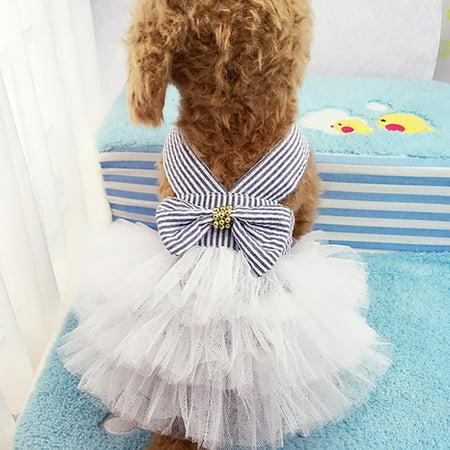 Cute Striped Princess Dress Lace Bowknot Tutu Skirt for Teddy Poodle Bichon Summer Wear Color:Pink Size:M - image 7 de 8