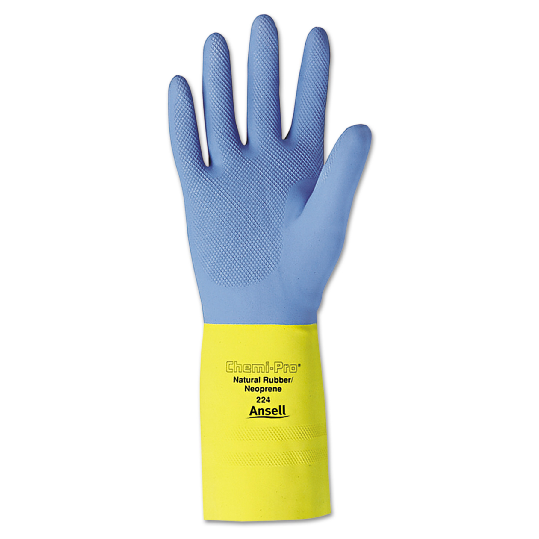 AnsellPro Chemi-Pro Neoprene Gloves, Blue Yellow, Size 10, 12 Pairs by ANSELL LIMITED